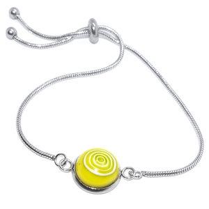 "Hoogwaardige edelstaal armband met gele ""eyecatcher"" van speciaal glas!"