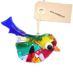 Gekleurde glazen vogel hanger. Decoratie vogel handgemaakt van speciaal glas in allerlei kleuren!