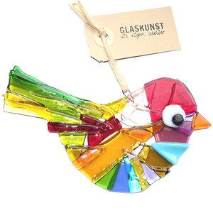 Grote glazen vogel hanger gemaakt van het mooiste gekleurde glas.