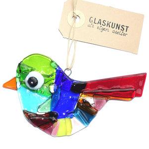 Mooie kleurrijke vogel hanger gemaakt van prachtig gekleurd glas. Exclusieve glaskunst decoratie