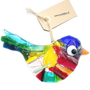 Glazen vogel hanger in super gave kleuren! Glazen vogel hanger handgemaakte van prachtig gekleurd glas!