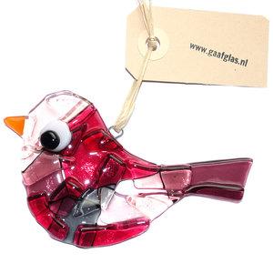 Glazen vogel hanger gemaakt van helder glas in paars, lichtroze, grijs en rood glas. Tuinhanger van glas.
