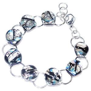Zilver glas armband van edelstaal met luxe zilver glas uit eigen atelier.