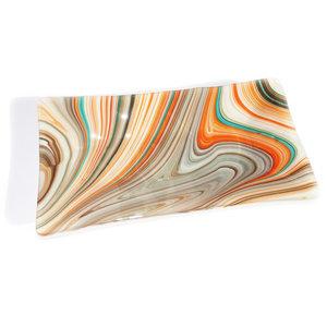 """Glazen schaal van prachtig """"swirl"""" glas in oranje-bruin-grijs-turquoise tinten."""
