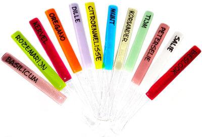 rozemarijn, kervel, oregano,dille,tijm,munt,citroenmelisse,koriander,peterselie,salie en bieslook.