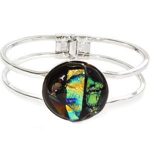 Zilverkleurige armband met handgemaakte glazen cabochon van geel-groen en metallic glas!