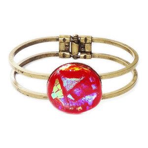 Unieke rode handgemaakte armband van dichroide glas!