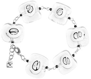 Armband met heldere zwart-witte glaskralen