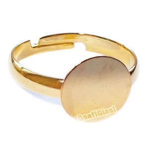 Verstelbare ring met plakvlak, Goudkleur, Doorsnede 17 mm. Plakvlak 10 mm.