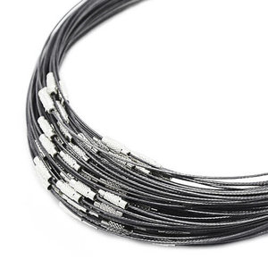 Donker grijze kettingen voor hangers en kralen. Wisselketting met schroefsluiting