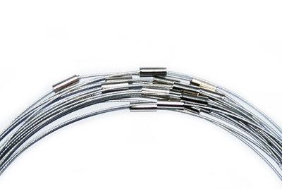 Spang ketting met draaisluiting, zilver, 53 cm.
