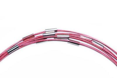 Spang ketting roze met draaisluiting, 53 cm.
