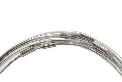 Zilveren spang ketting met magneetsluiting, 43 cm.