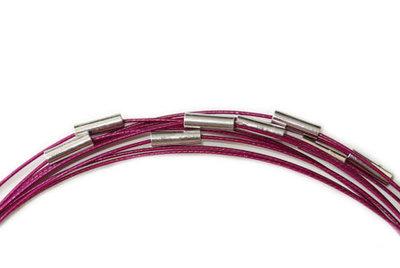 Spang ketting met magneetsluiting, paars, 46 cm.