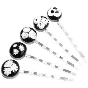 Zilverkleurige haarschuifjes met unieke glaskunst van zwart-wit millefiori glas. Set van 5 haar speldjes