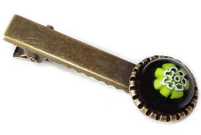 Handgemaakt haarknipje met zwart-groene bloem!
