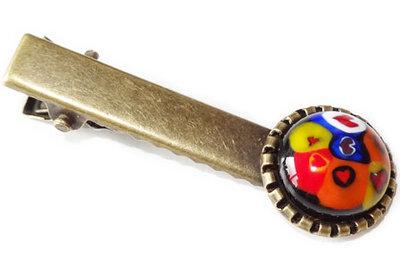 Haarknipje van glas met kleurrijke hartjes!