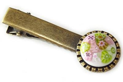 Haarknipje bronskleurig met roze-groene millefiori!