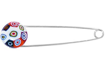 Broche speld met millefiori retro cirkels