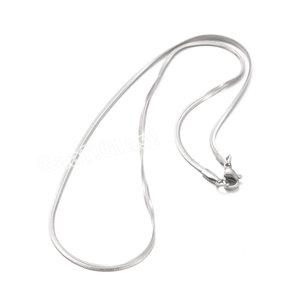 RVS Halsketting met platte 2 mm. brede schakel in 45 cm. lengte. Stainless steel snake ketting.