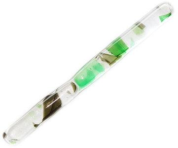 Handgemaakt helder glazen roerstaafje met prachtige groene details!