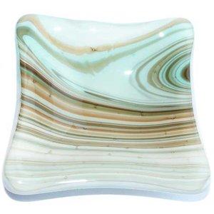 Gestreept glazen schaaltje van groen met bruin gestreept glas.
