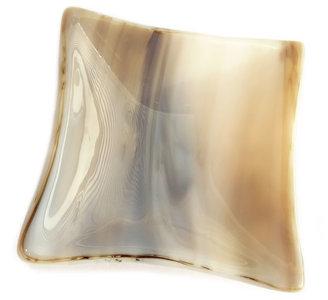 Handgemaakt beige-grijs-bruin gevlamd glazen schaaltje!