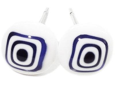 RVS oorstekers van wit - blauw millefiori glas!
