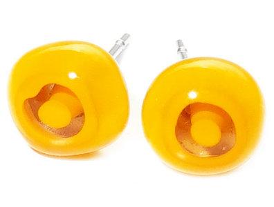 Handgemaakte gele glazen (rvs) oorknopjes van millefiori glas!