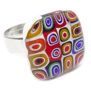 Glazen ring gemaakt van multicolor millefiori rondjes/cirkels van glas!