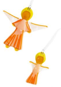 Handgemaakte glazen engeltjes van prachtig beige,oranje,wit en geel glas! Set van 2 kerst engeltjes