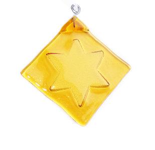 Handgemaakte glazen kerstster van helder amber geel glas!