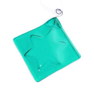 Handgemaakte glazen kerstster van helder turquoise blauw glas!