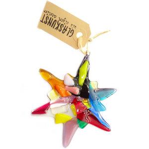 Glazen kerstster van prachtig multicolor glas! Gekleurde kerst ster van glas uit eigen atelier!