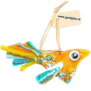 Grote geel met turquoise-blauwe glazen vogel met prachtige millefiori accenten! Unieke vogel hanger van speciaal glas!