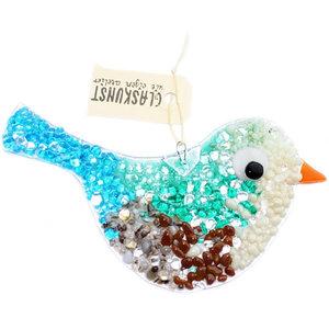 Grote glazen vogel met blauw, groen, grijs, ivoor en bruin glas.