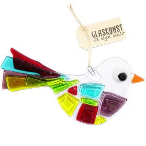 Vogel hanger van helder glas met kleurrijke accenten. Unieke suncatcher voor huis en tuin.