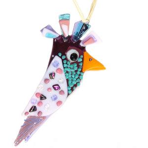 Fraaie vogel hanger van paars en roze glas.