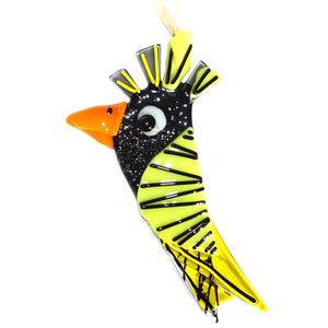 Zwart met gele glazen vogel gemaakt van speciaal glas. Decoratie voor huis en tuin!