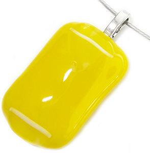 Handgemaakte gele hanger van glas met witte accenten