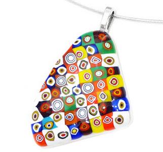 Handgemaakte hanger van multicolor millefiori cirkels!