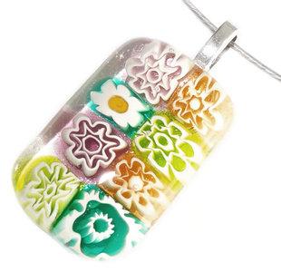 Handgemaakte hanger van glas! Prachtige heldere turquoise-paars-groen-beige millefiori bloemen!