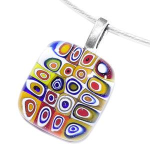 Handgemaakte kleine glazen hanger met retro millefiori cirkels in mooie kleuren!