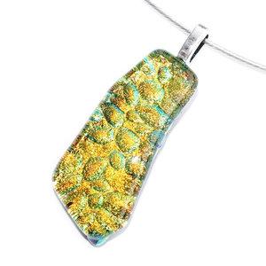 Handgemaakte geel-goud-groene glashanger. Speciaal glazen sieraad uit eigen atelier. Eenmalig ontwerp.