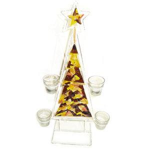 Luxe glasfusing kerstboom kaarsenhouder met bruin-gele glaskunst kerstboom.