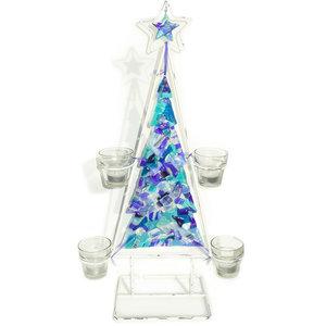 Handgemaakte kaarsenhouders met een blauwe glazen kerstboom voor kerst!