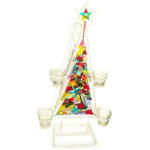 Glazen kerstboom van kleurrijk glas met waxinelichthouders. Exclusieve kerst decoratie van speciaal glas!