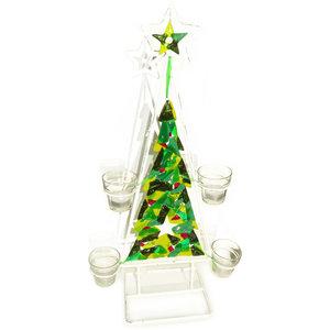 Groene glazen kerstboom van speciaal glas met waxinelichthouders. Unieke kaarsenhouder voor kerst!
