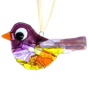 Prachtige paars met oranje en gele vogelhanger van glas. Glazen vogel hanger van speciaal glas gemaakt in eigen atelier d.m.v.