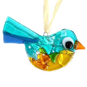 Blauw met oranje, amber en gele glazen vogel hanger van speciaal glas. Unieke glasfusing vogel hanger.